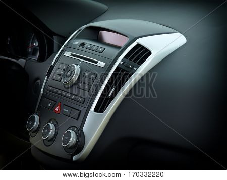 Car audio and radio stereo system on car panel