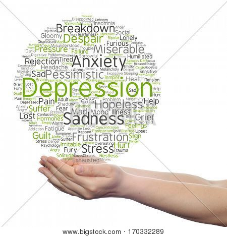 Concept conceptual depression mental emotional disorder abstract word cloud held in hands isolated on background metaphor to anxiety sadness negative, sad, problem, despair unhappy frustration symptom