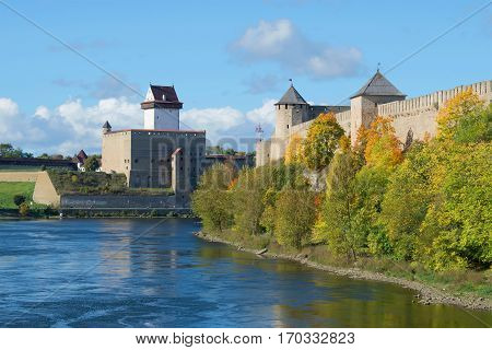 View of the Ivangorod fortress and the castle of Herman, sunny September day. The border of Russia and Estonia