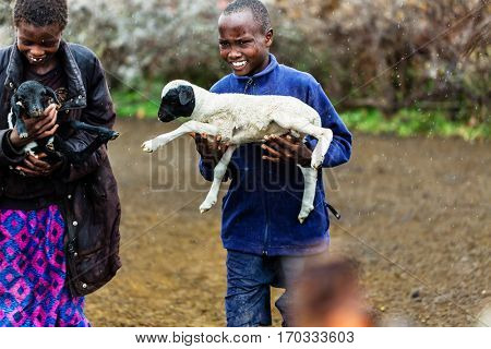 Massai children carrying goats in the rain