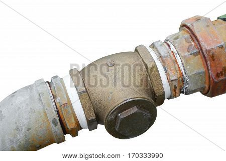 pipe plumbing steel dilapidated old rusty isolated on white background and clipping path