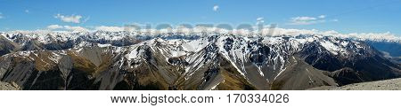 An Alpine Panorama From Atop Craggyburn Ski Field.  Southern Alps, New Zealand