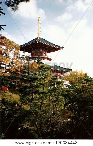 The Three-Storied Pagoda at the Narita-san Shinshō-ji Shingon Buddhist temple in Narita, Japan, as seen behind trees in autumn color.