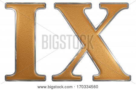 Roman Numeral Ix, Novem, 9, Nine, Isolated On White Background, 3D Render