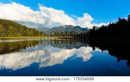 Lake Matheson Reflection.  Westland National Park, New Zealand