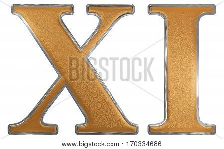 Roman Numeral Xi, Undecim, 11, Eleven, Isolated On White Background, 3D Render