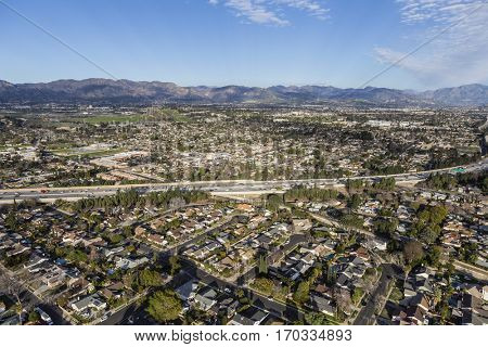 Aerial view of the 118 freeway in the Granada Hills neighborhood of Los Angeles California.