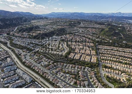 Aerial of the Stevenson Ranch suburban community in Los Angeles County California.