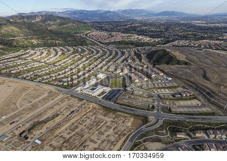 New neighborhood construction in the Porter Ranch neighborhood of Los Angeles California.