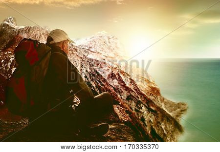 senior hill hiking older man poster