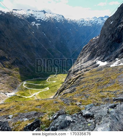 Milford Road Viewed From Homer Saddle.  Fjordland National Park, Milford Sound, New Zealand.