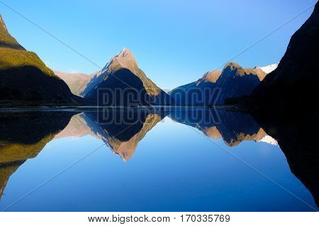 Mitre Peak Reflected in Milford Sound.  Fjordland National Park, New Zealand