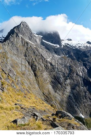 Views of Granite Peaks from Homer Saddle.  Milford Sound, Fjordland National Park, Southern Alps, New Zealand.
