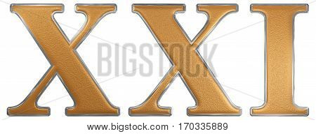 Roman Numeral Xxi, Unus Et Viginti, 21, Twenty One, Isolated On White Background, 3D Render