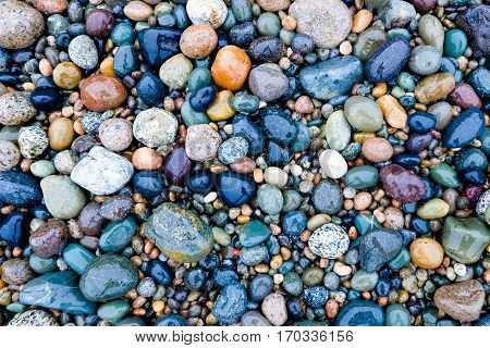 A Colorful Collection of Polished Gem Stones on a Beach. Fjordland National Park, New Zealand