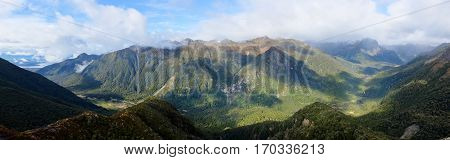 Panoramic View of The Kepler Track. Fjordland National Park Southern Alps New Zealand.
