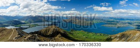 Panoramic View Of Lake Wanaka and The Alps From Roys Peak.  Aspiring National Park, Southern Alps, New Zealand.