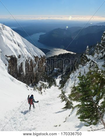 A Woman Hiker Descending A Snowy Mountain. Mt Ellinor Olympic National Park Washington.
