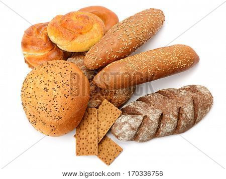 Fresh bread isolated on white background. Top view.