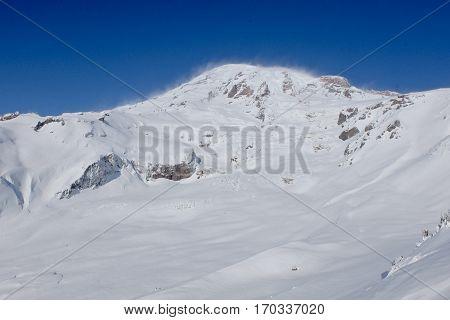 The Summit of Mt Rainier.  Cascade Mountains, Washington