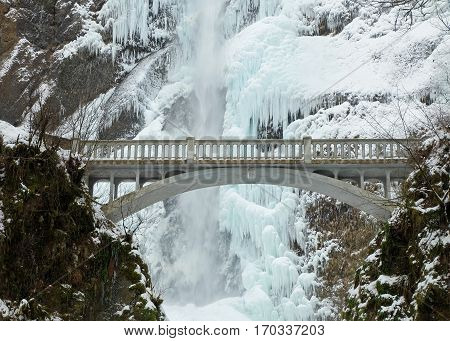The Icy Cascades of Multnomah Falls in Winter.  Portland, Oregon