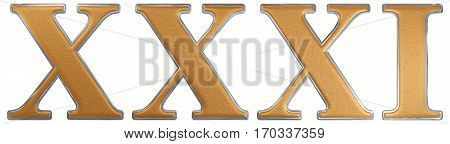 Roman Numeral Xxxi, Unus Et Triginta, 31, Thirty One, Isolated On White Background, 3D Render