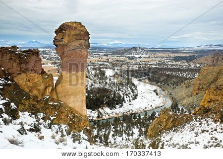 Winter At Smith Rock State Park.  Central Oregon.