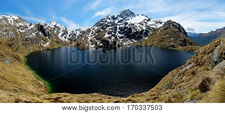 Panorama of Lake Harris on The Routeburn Track.  Aspiring National Park, Southern Alps, New Zealand