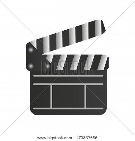 cinema clapboard icon over white background. colorful design. vector illustration