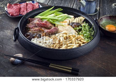 Sukiyaki in traditional Cast Iron Put