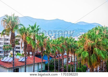 Alanya city, view to the city and mountains , Turkey
