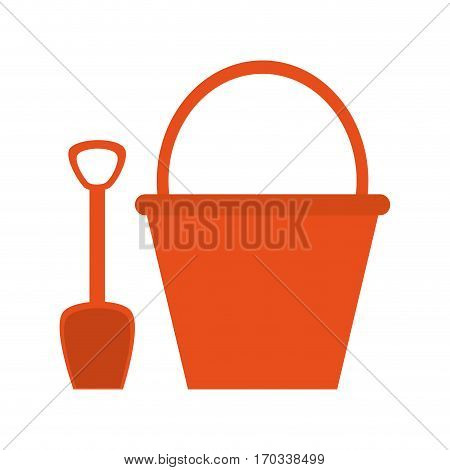 shovel and bucket icon over white background. colorful design. vector illustration