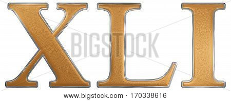 Roman Numeral Xli, Unus Et Quadraginta, 41, Forty One, Isolated On White Background, 3D Render