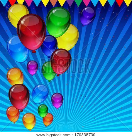 Birthday party card - colorful festive balloons, confetti, ribbons flying for celebrations card in blue background with space for you text.