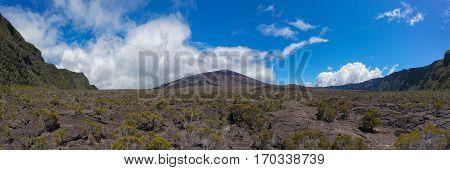 le piton de la fournaise réunion island : inside the enclosire of the volcano panoramic view.