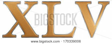 Roman Numeral Xlv, Quinque Et Quadraginta, 45, Forty Five, Isolated On White Background, 3D Render