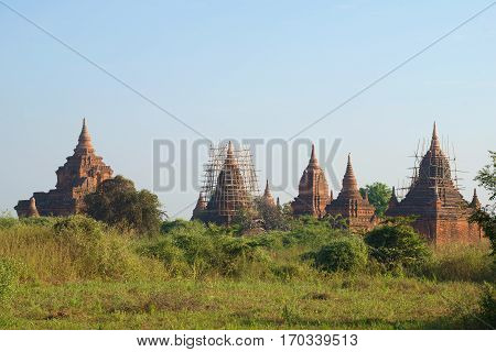 Ancient temples of Bagan in morning light. Burma