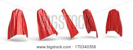 3d rendering of a red cape draped over invisible silhouette in five different points of view. Ads and promotions. Theater and stage. Carnivals.