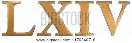 Roman Numeral Lxiv, Quattuor Et Sexaginta, 64, Sixty Four, Isolated On White Background, 3D Render