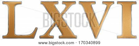 Roman Numeral Lxvi, Sex Et Sexaginta, 66, Sixty Six, Isolated On White Background, 3D Render