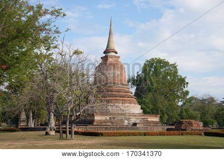 Stupa is an ancient Buddhist temple Wat Chana Songkram. Sukhothai, Thailand