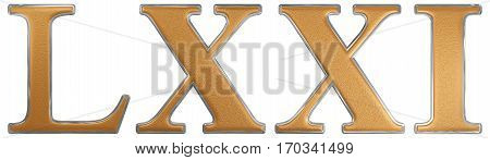 Roman Numeral Lxxi, Unus Et Septuaginta, 71, Seventy One, Isolated On White Background, 3D Render
