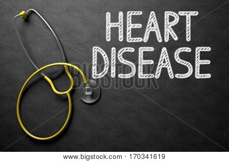 Medical Concept: Heart Disease Handwritten on Black Chalkboard. Black Chalkboard with Heart Disease - Medical Concept. 3D Rendering.