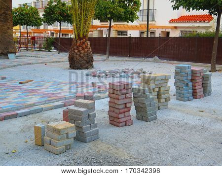 Colorful paving stones in Freedom Fighter Park Alora