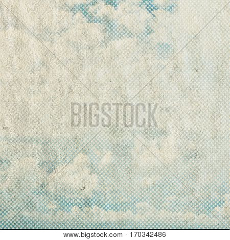 retro sky pattern on old paper texture. vintage clouds.