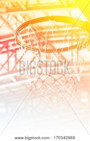 Close up basketball indoor court sport game