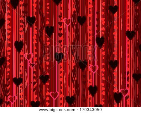 Valentine hearts abstract background, vector illustration, horizontal