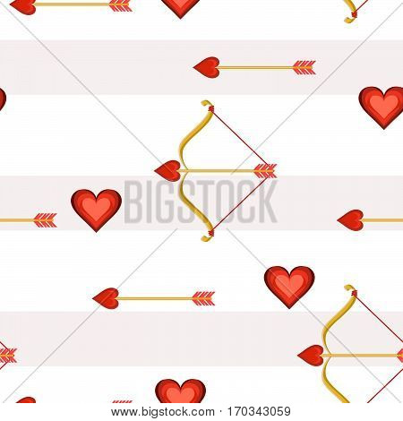 Valentine hearts bow and arrow, seamless tile vector texture pattern