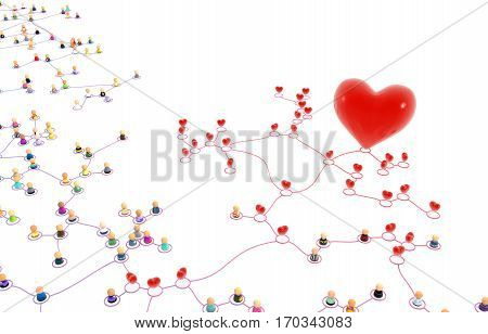Crowd of small symbolic 3d figures linked by lines red hearts horizontal isolated