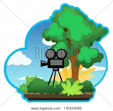 Landscape cartoon nature camera, vector illustration, horizontal, isolated